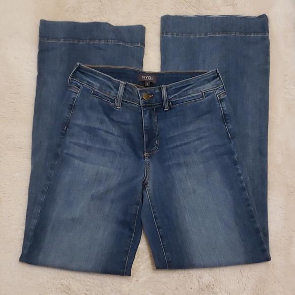 NYDJ Lift Tuck  Wide Leg Blue Jeans sz 2